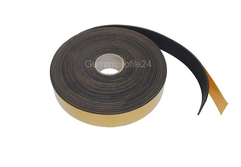 2x12 mm EPDM Zellkautschukstreifen selbstklebend (Montagehilfe) - Rolle 10 Meter